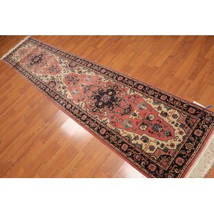 Big Save One-of-a-Kind Eberle Traditional Persian Hand-Knotted 2'7 x 12'1 Wool Black/Beige/Red Area Rug By Isabelline