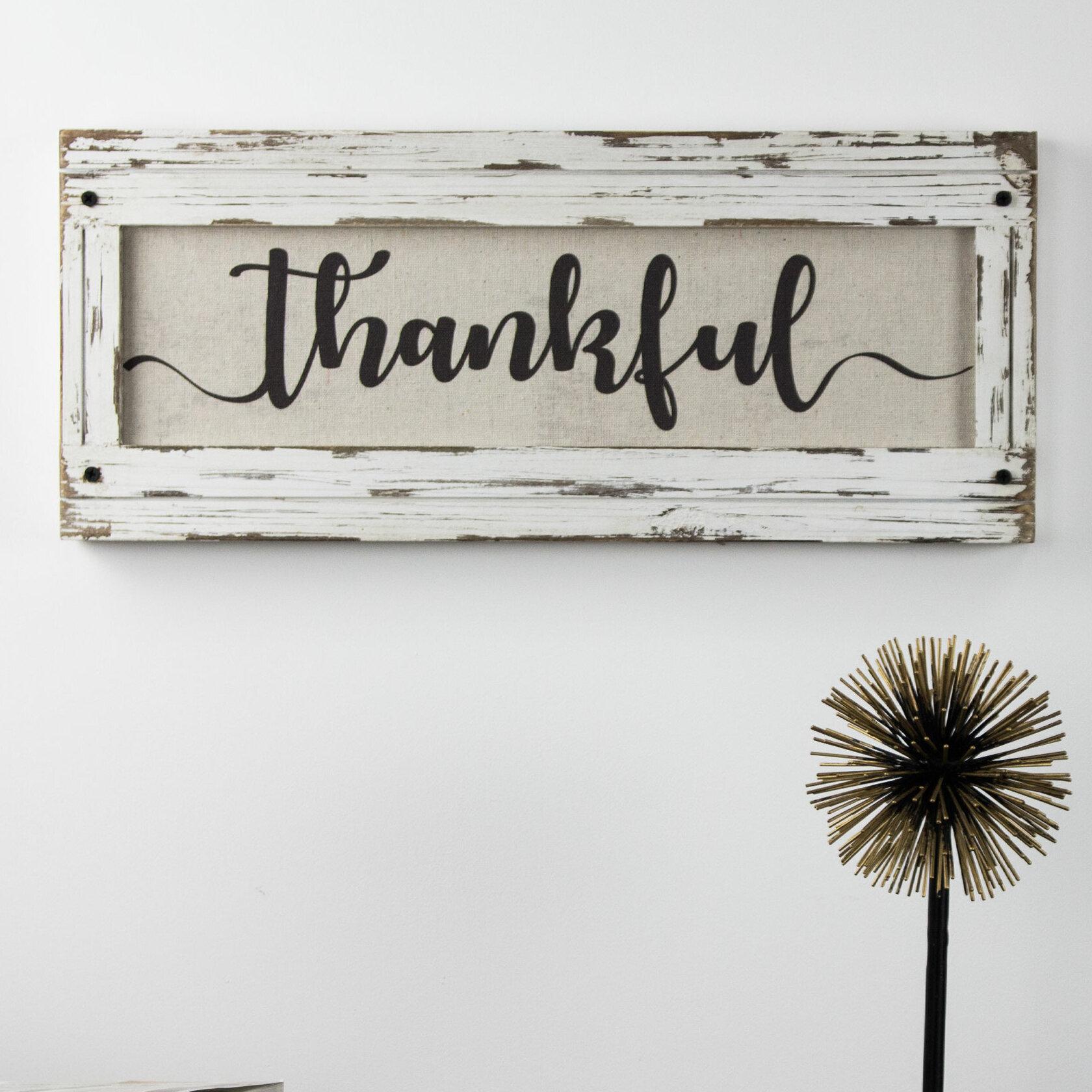 Gracie Oaks Thankful Wood Framed Inspirational Canvas Sign Farmhouse Wall Décor Reviews Wayfair