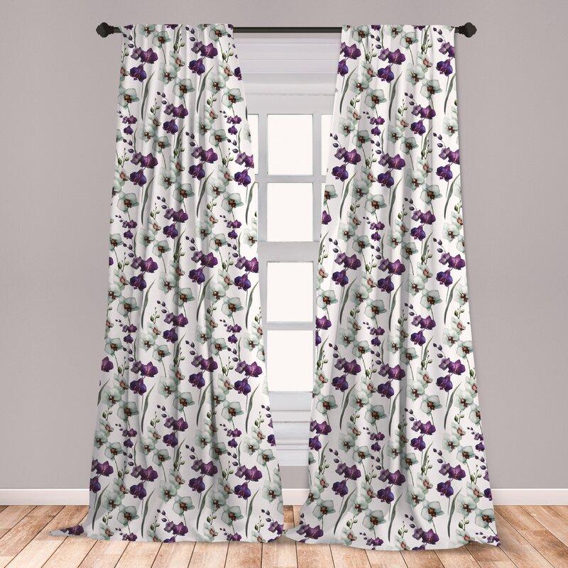East Urban Home Bloomer Watercolor Flower Floral Room Darkening Rod Pocket Curtain Panels Wayfair