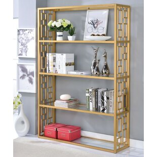 Gately Glass Metal Standard Bookcase Everly Quinn
