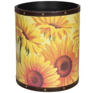 Oriental Furniture Sunflower Garden 2.9 Gallon Waste Basket