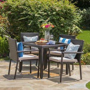 Stewartstown Wicker 5 Piece Dining Set with Cushions