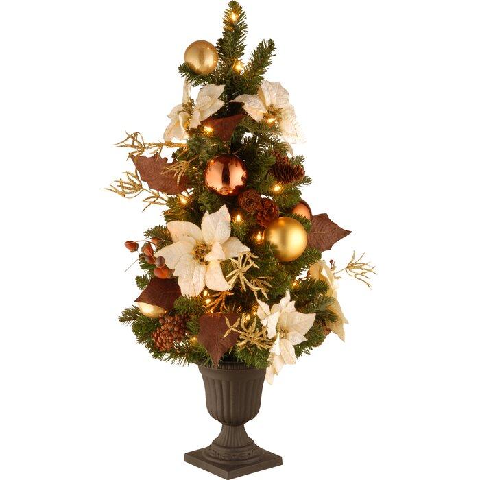 3 Pre Lit Christmas Tree.3 Green Pine Artificial Christmas Tree With 50 Pre Lit Clear Lights With Urn Base