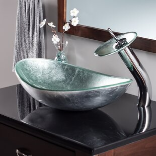 Novatto Argento Glass Oval Vessel Bathroom Sink with Faucet