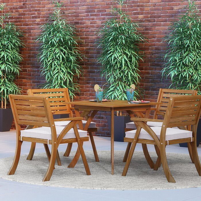 Ajax 5 Piece Dining Set With Cushions