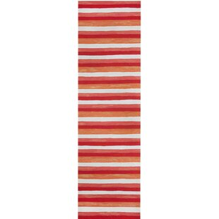 Hugo Painted Stripes Hand-Woven Red Indoor/Outdoor Area Rug