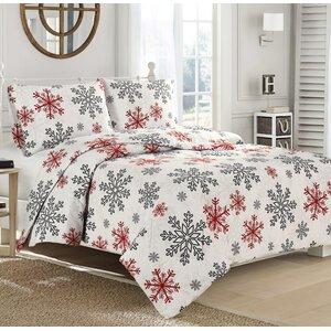 Red Snowflake 100 Cotton Sheet Set