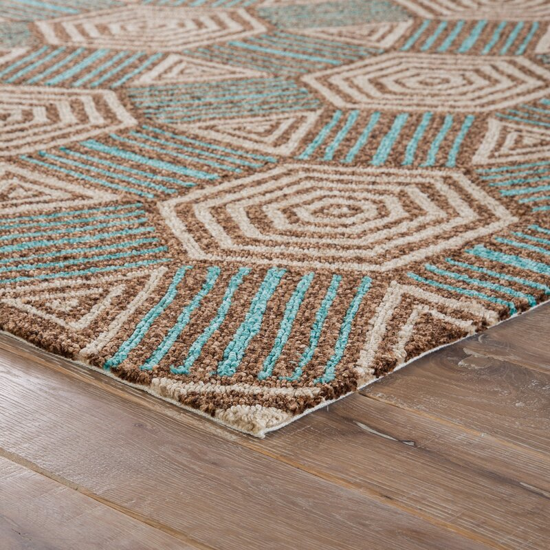 Shari Brown/Tan/Aqua Indoor/Outdoor Area Rug