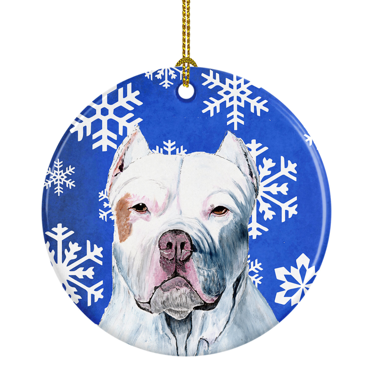 Blue Pit Bull Christmas Snowflake Dog Ornament Shatter Proof Ball Home Garden Holiday Seasonal Décor
