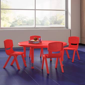 Factory Direct Partners Dry Erase 5 Piece Circle Activity Table 18 H Chair Set