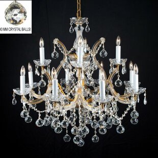 Astoria Grand Alvarado 13-Light Gold/Clear Candle Style Chandelier