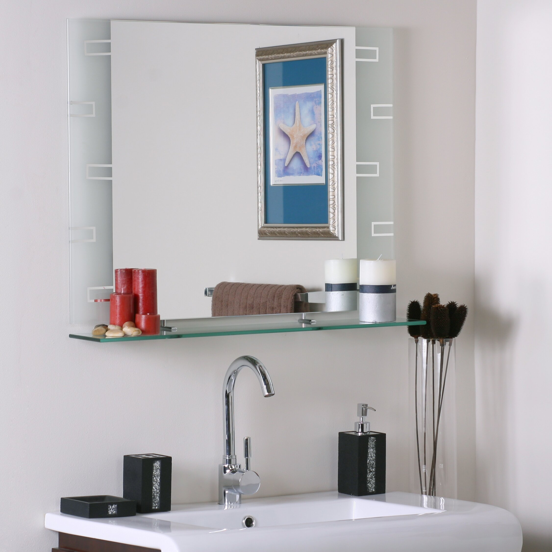 Wyona Frameless Wall Mirror With Shelf