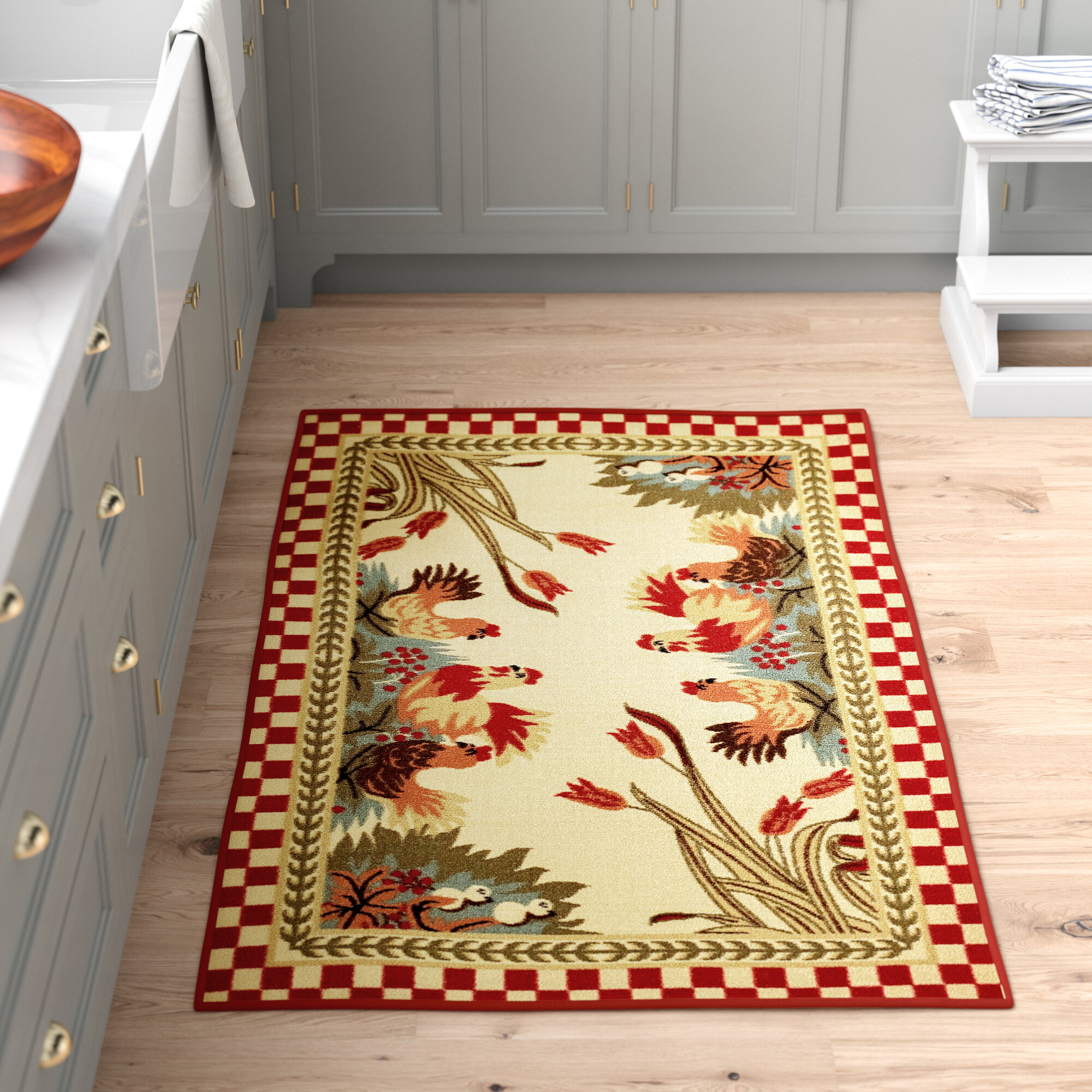 August Grove Charleena Rooster Checkered Cream Red Green Kitchen Area Rug Reviews Wayfair