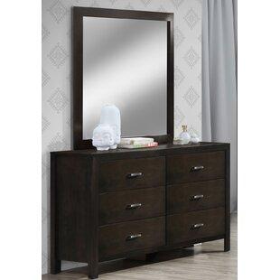 Vandenbosch 6 Drawer Double Dresser with Mirror
