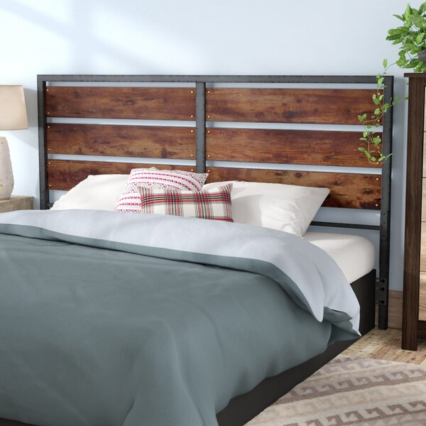 Union Rustic Abril Metal And Wood Plank Queen Slat Headboard & Reviews by Union Rustic