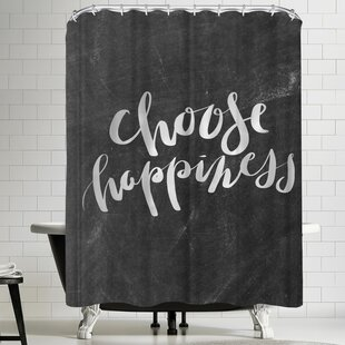 Jetty Printables Silver Chalkboard Choose Happiness Typography Single Shower Curtain