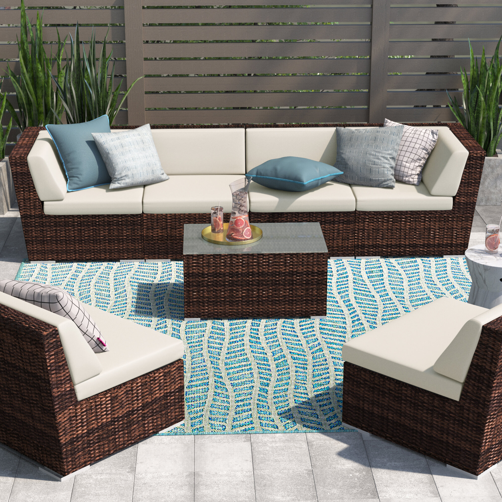Orren Ellis Barneveld 7 Piece Rattan Sectional Seating Group With Cushions Reviews Wayfair