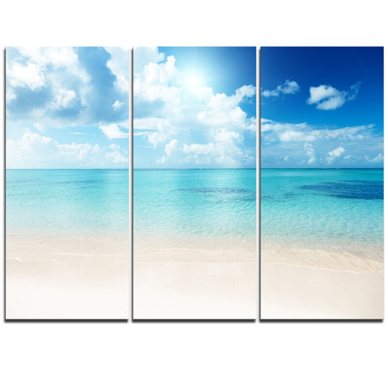 Highland Dunes Sand Of Beach In Blue Caribbean Sea 3 Piece Graphic Art On Wrapped Canvas Set Wayfair