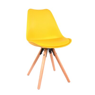 George Oliver Beyers Upholstered Dining Chair Leg Color: Natural, Upholstery Color: Yellow