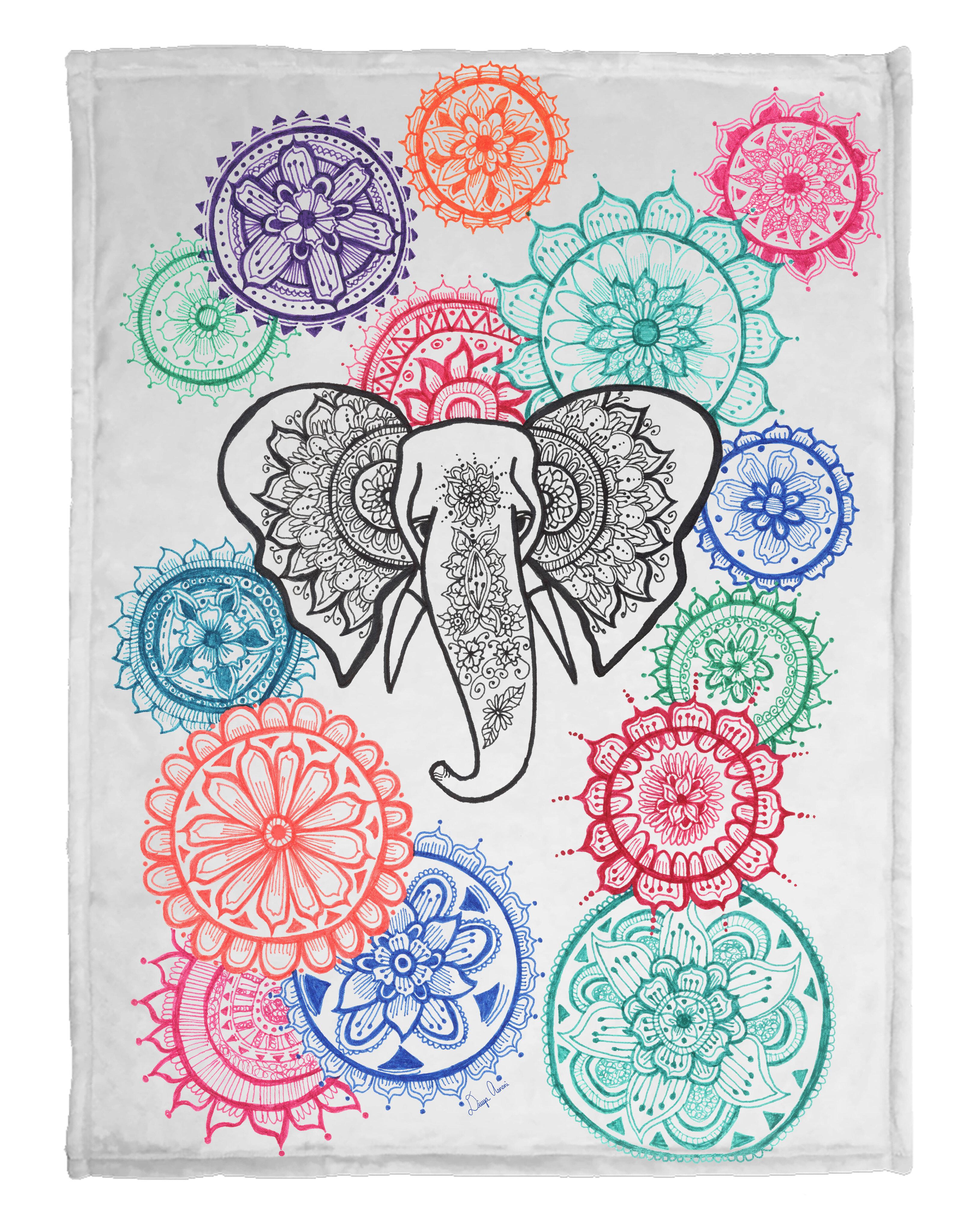 Dakota Fields Kerim Mandala Elephant Fleece Blanket Wayfair