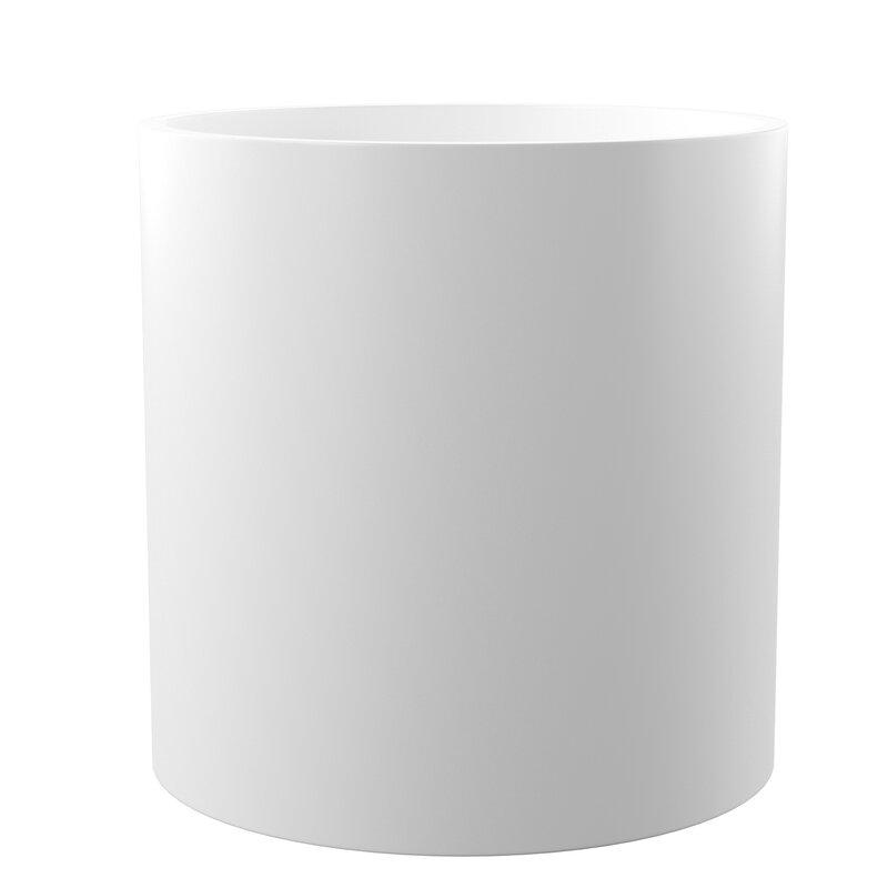 """Mercury Row  Sheilds Cylinder Fiberglass Pot Planter Size: 14"""" H x 14"""" W x 14"""" D, Color: White"""