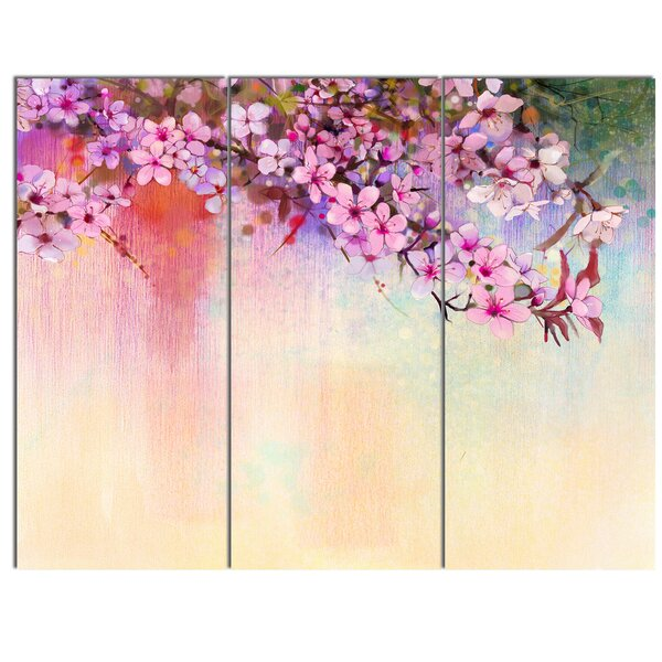 designart watercolor painting cherry blossoms 3 piece wall art on