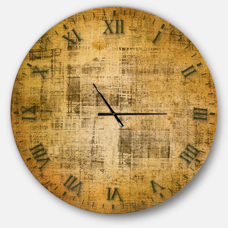 East Urban Home Farmhouse Designart Antique Face On Parchment Rustic Wall Clock Wayfair Ca