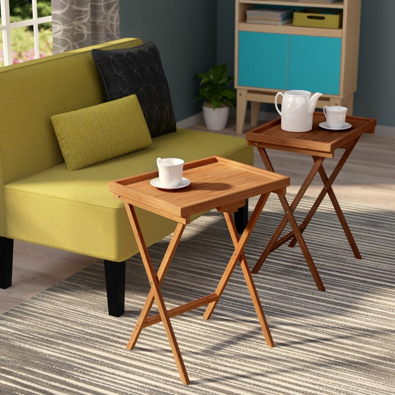 Ebern Designs Hussey Bamboo Snack TV Tray Table