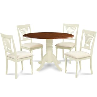 Kraft 5 Piece Drop Leaf Solid Wood Dining Set by August Grove