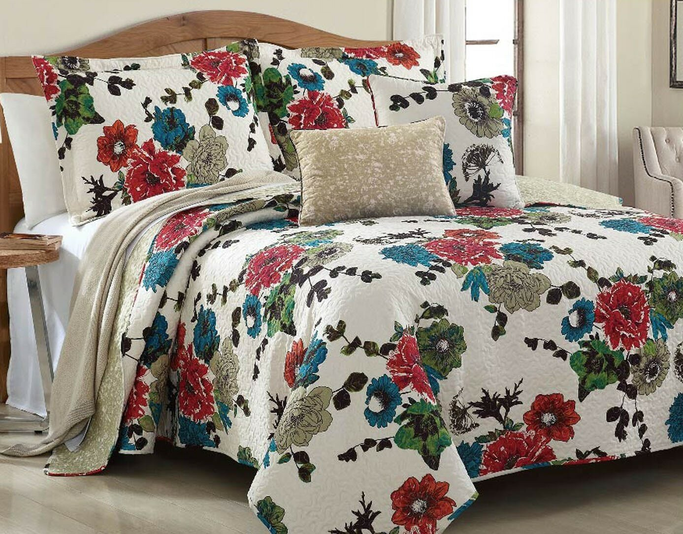 Winston Porter Dondi Spring Country Garden Reversible Quilt Set Reviews Wayfair