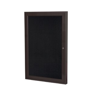 Ghent 1 Door Enclosed Recycled Rubber Bulletin Board with Bronze Frame by Ghent