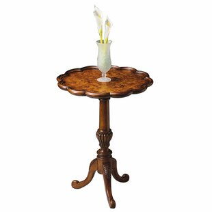 Coupon Copley Pedestal End Table in Olive Ash Burl By Astoria Grand