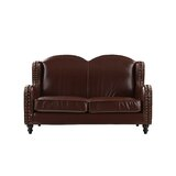 Riney Leather Loveseat by Charlton Home®