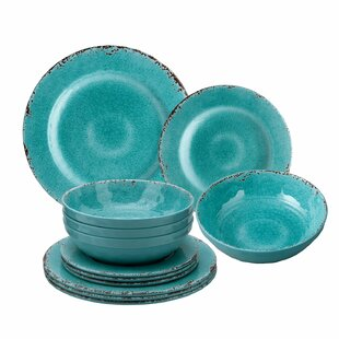 Kinzer 12 Piece Melamine Dinnerware Set, Service for 4