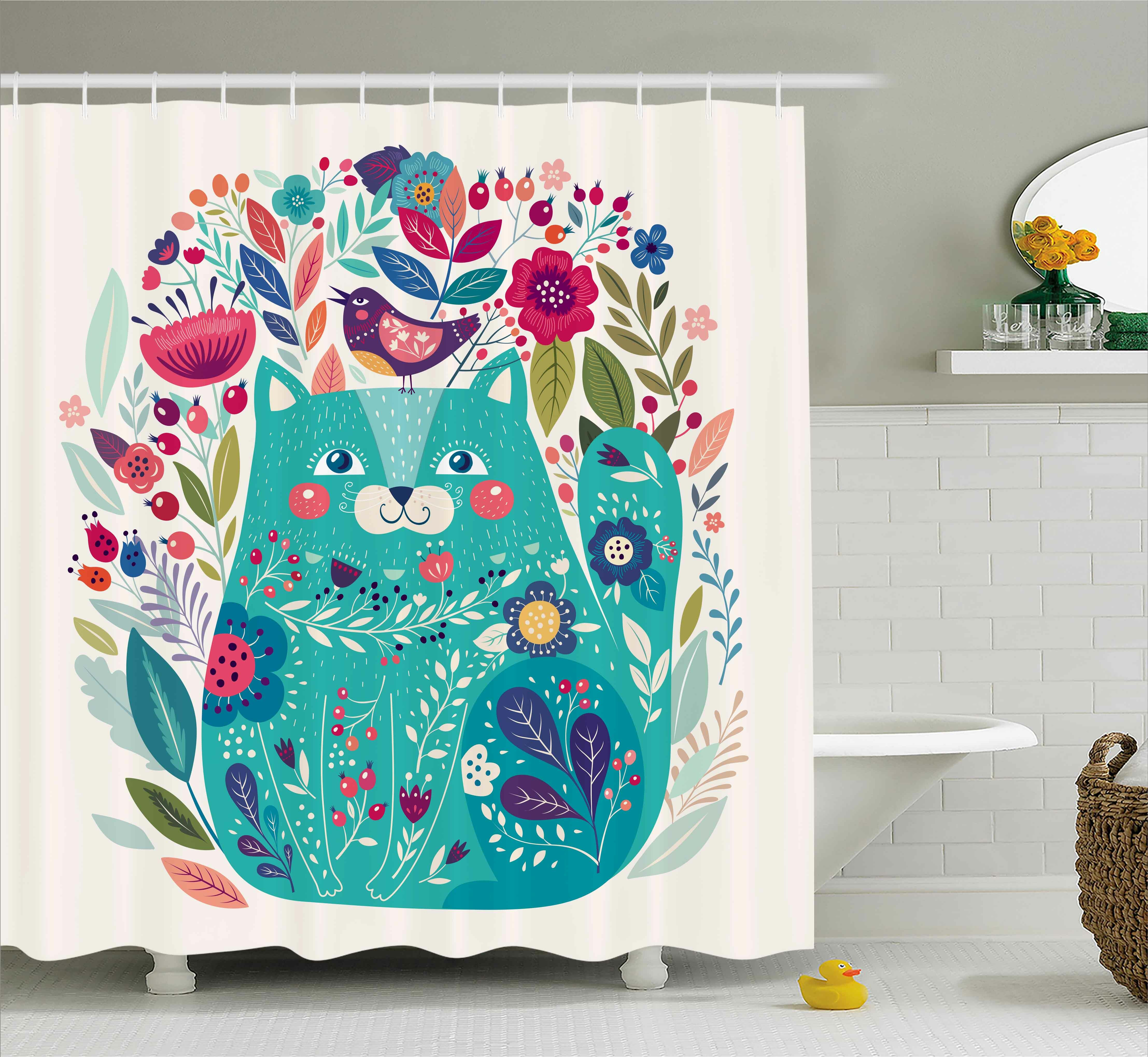 Zoomie Kids Lottie Kitty With Flower And Bird Shower Curtain