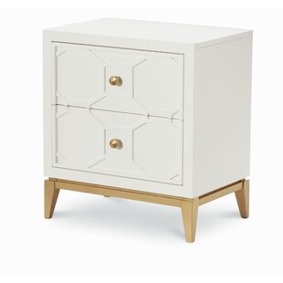 Reviews 2 Drawer Nightstand with Decorative Lattice By Rachael Ray Home