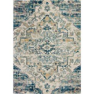 Bellock Oriental Beige/Blue Area Rug by Bungalow Rose
