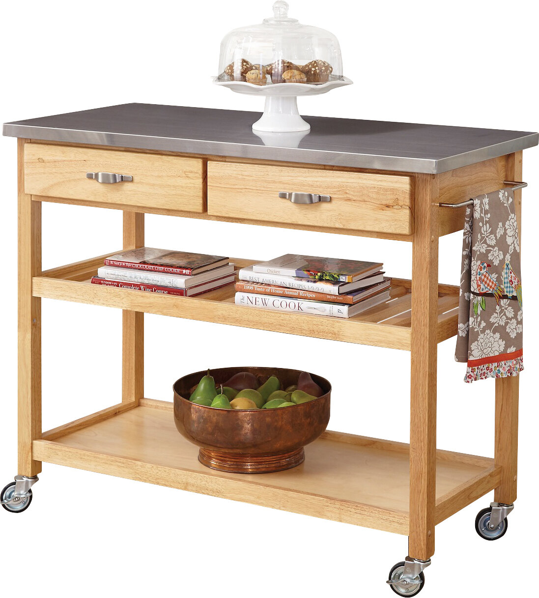Drumtullagh Kitchen Cart with Stainless Steel Top