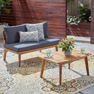 Lafrance 2 Piece Teak 2 Person Seating Group with Cushions