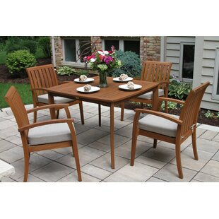 Mallie Tapered Square 5 Piece Dining Set with Cushions By Beachcrest Home