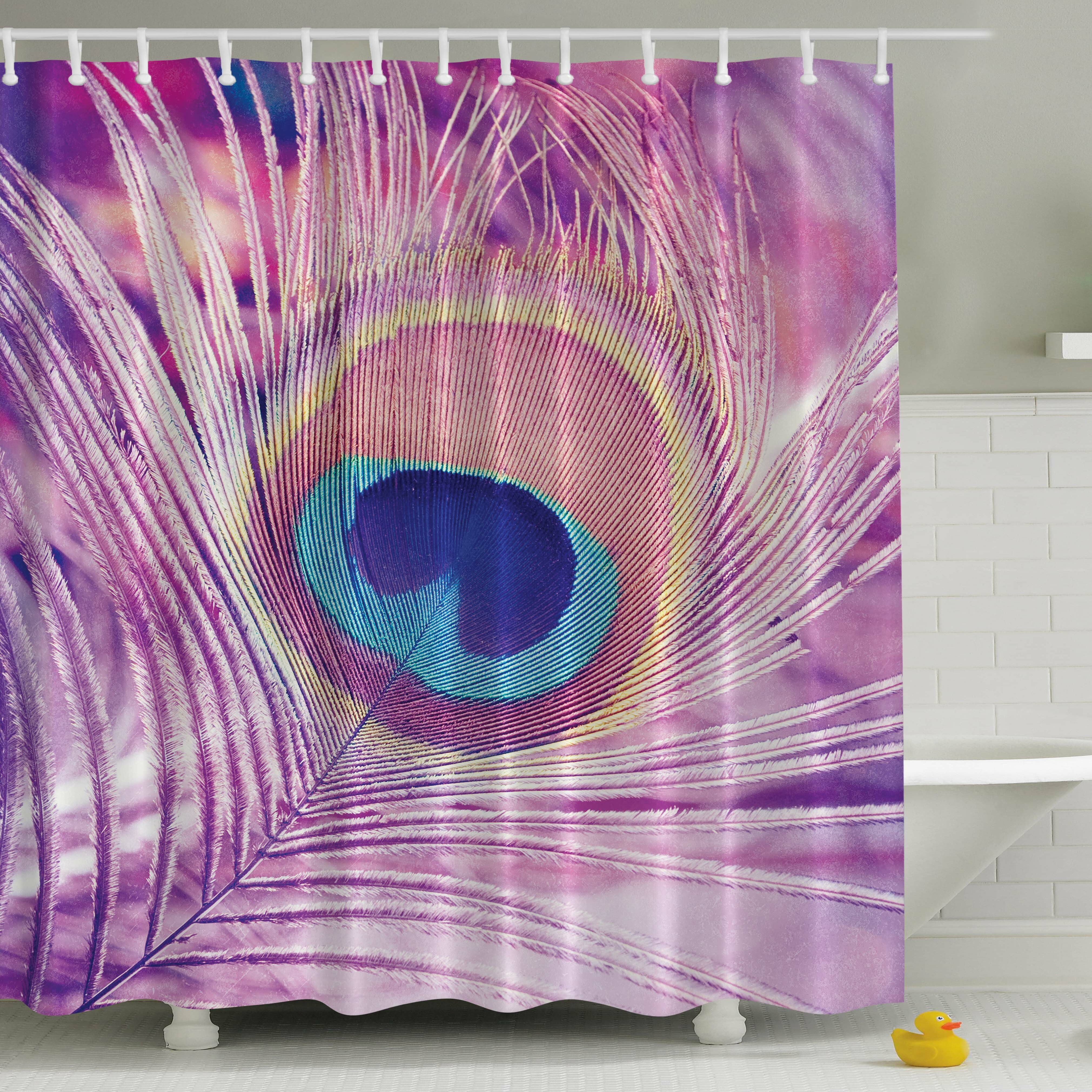 Floral Artwork with Peacock Feather Pattern and Leaf Print Shower Curtain Set