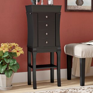 Baker Free Standing Jewelry Armoire with Mirror by Charlton Home