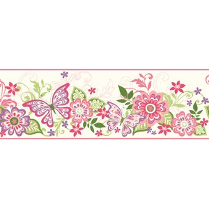 Borders by Chesapeake Kendra Butterflies Blooms Trail 15′ x 8″ Floral Border Wallpaper