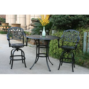Pugliese 3 Piece Bar Height Dining Set with Sunbrella Cushions by Canora Grey