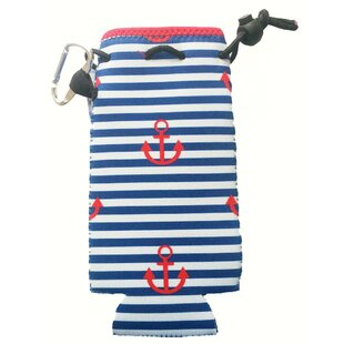 Neoprene Stripes and Anchors Bottle Cooler with Carabiner