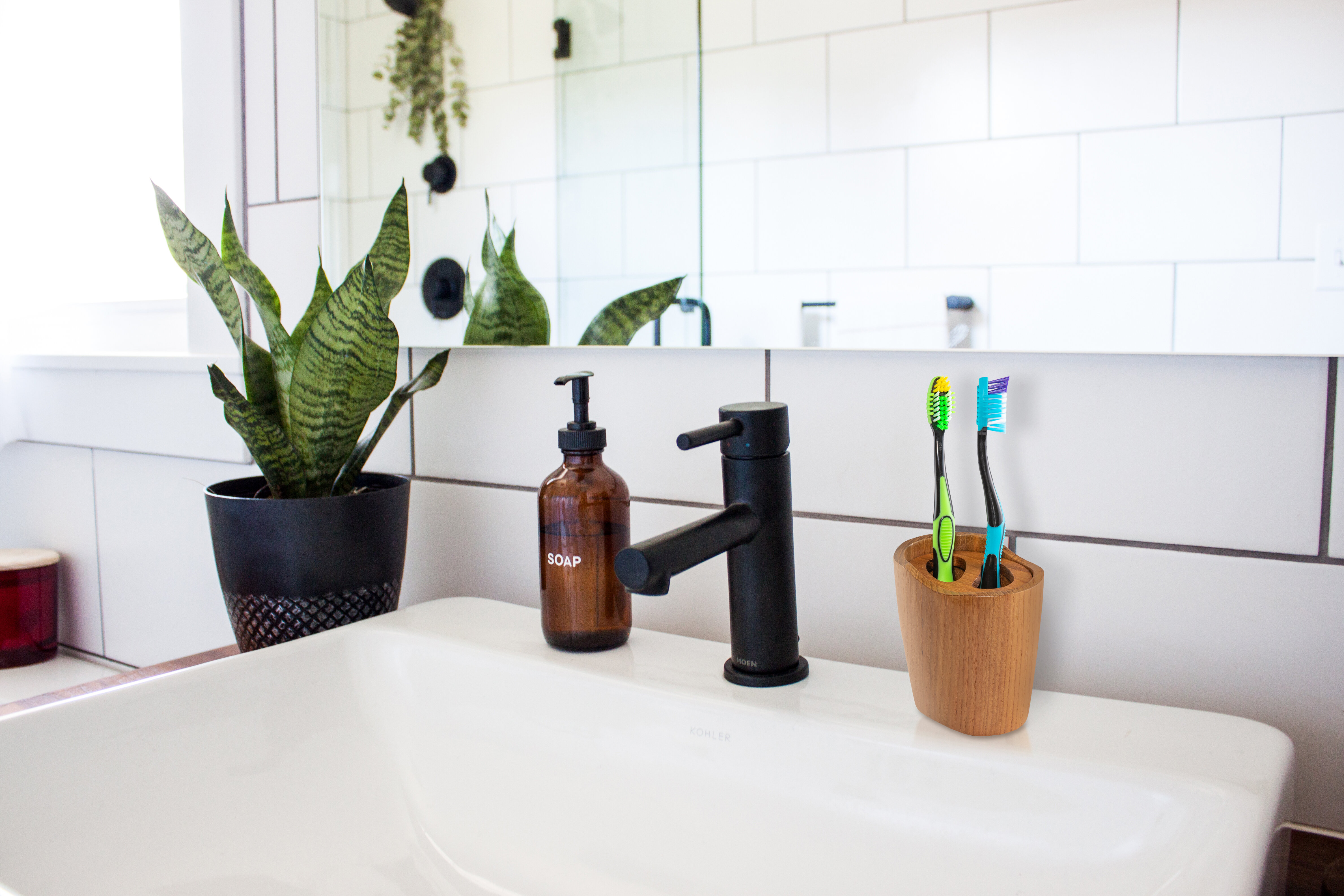 Bay Isle Home Morales Teak Vanity Toothbrush Holder Wayfair