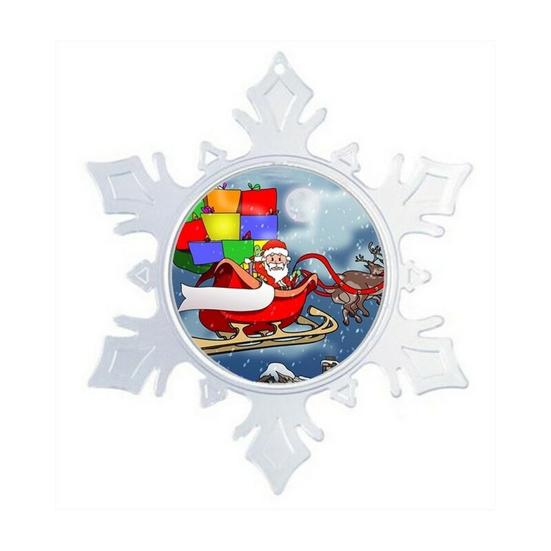 The Holiday Aisle Personalized Friendly Folks Cartoon Snowflake Santa In Sleigh Christmas Decor Christmas Holiday Shaped Ornament Wayfair