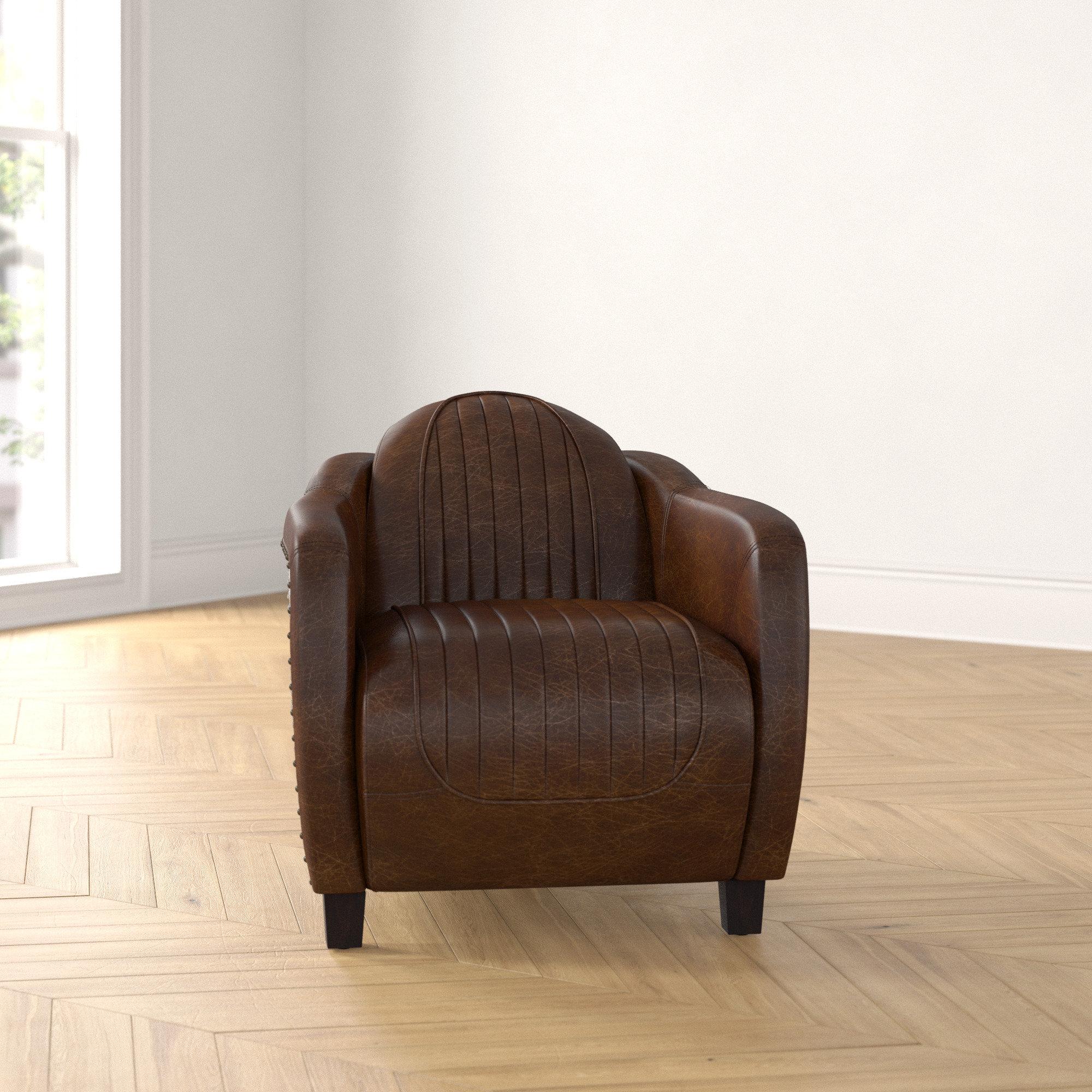 Foundstone Analise 29 W Top Grain Leather Barrel Chair Reviews Wayfair