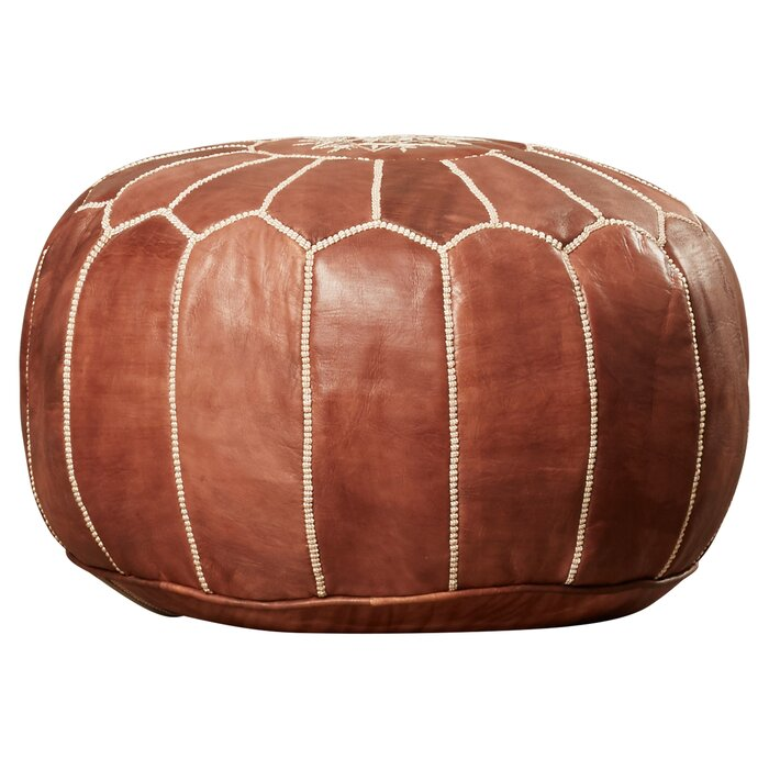 Enjoyable Carolos Leather Pouf Caraccident5 Cool Chair Designs And Ideas Caraccident5Info