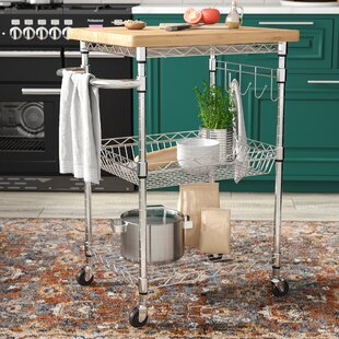 Medrano Kitchen Cart with Wood Top